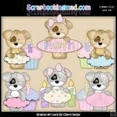 Birthday Message Pups ClipArt Graphic Collection