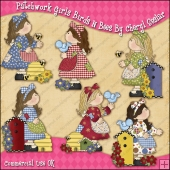 Patchwork Girls Birds & Bees ClipArt Graphic Collection