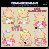 Just Babies Little Divas ClipArt Graphic Collection