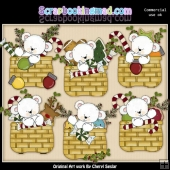 Polar Bear Christmas Baskets ClipArt Collection