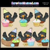 Little Robins Birthday Cupcakes ClipArt Graphic Collection