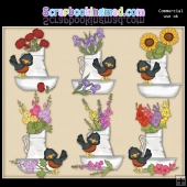 Little Robins Flower Basins ClipArt Graphic Collection