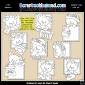 Peek A Boo Bears Shopping Colour Your Own ClipArt RESALE SET