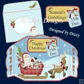 Ho Ho Ho Santa Scalloped Four Fold Card