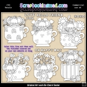 Little Mouse Tea Cups Colour Your Own ClipArt RESALE SET