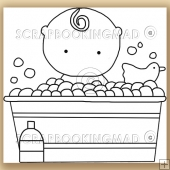 Baby Bath - Digital Stamps