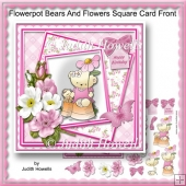 Flowerpot Bears And Flowers Square Card Front