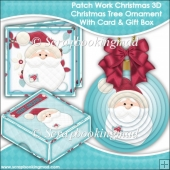Patch Work Christmas 3D Christmas Tree Ornament With Card & Box