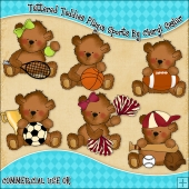 Tattered Teddies Playin Sports ClipArt Graphic Collection