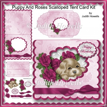 Puppy And Roses Scalloped Tent Card Kit