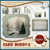 Snowy Cottage Bracket Edge Shadow Box Fold Card Kit