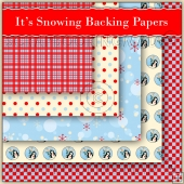 5 Christmas It's Snowing Backing Papers Download (C183)