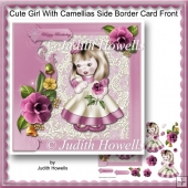 Cute Girl With Camellias Side Border Card Front