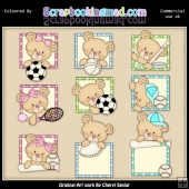 Peek A Boo Bears Sports ClipArt Graphic Collection