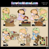 Cute Little Sewing Girls ClipArt Graphic Collection
