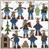 Winter Moose ClipArt Graphic Collection