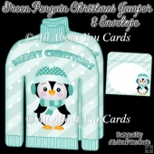 Green Penguin Christmas Jumper Card & Envelope