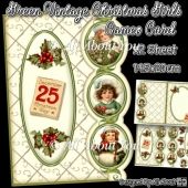 Green Vintage Christmas Girl Cameo Card