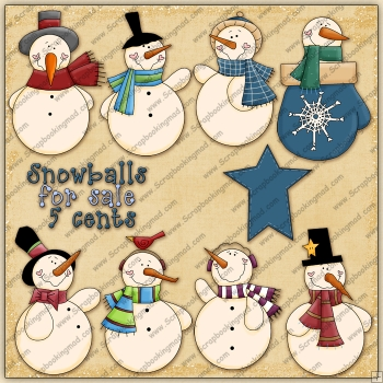 Mr Snowman ClipArt Graphic Collection