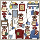Mama Bears Home ClipArt Graphic Collection