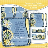 Denim and Daisies Card Front Side Stacker and Insert