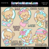 Oval Bears Girls Day Out ClipArt Graphic Collection