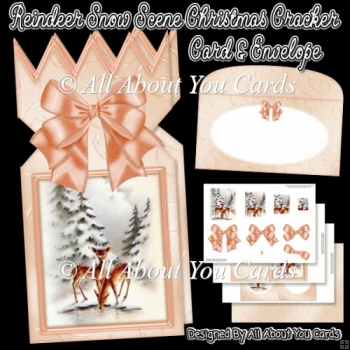 Reindeer Snow Scene Christmas Cracker Card