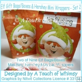 Elf Gift Bags/Boxes & Hershey Mini Wrappers - Set 2