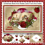 Christmas Book and Roses Card Front And Insert