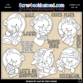 Oval Bears Girls Day Out Colour Your Own ClipArt RESALE SET