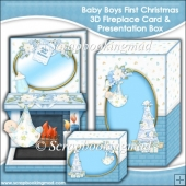 Baby Boys First Christmas 3D Fireplace Card & Presentation Box