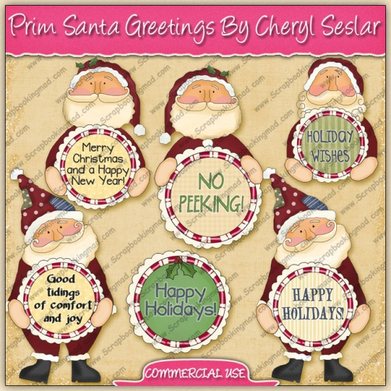 Prim Santa Greetings Graphic Collection - REF - CS - Click Image to Close