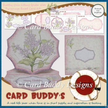 Shabby Chic Lilacs Spider Web Pyramage Easel Card Kit