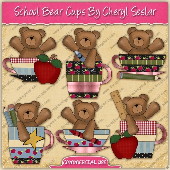 School Bear Cups Graphic Collection - REF - CS