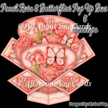 Peach Rose and Butterflies Pop Up Box Card & Envelope