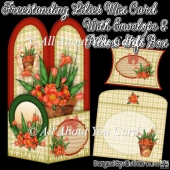 Freestanding Lilies Mix Card & Envelope & Pillow Gift Box