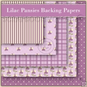5 Lilac Pansie Backing Papers Download (C117)