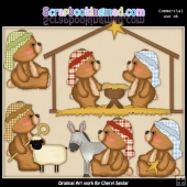 Fuzzy Cubs Nativity ClipArt Collection