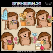 Pepper The Hedgehog Loves Flowers ClipArt Collection