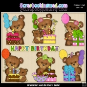 Cloey Bears Birthday Party ClipArt Graphic Collection