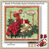 Basket Of Poinsettia Square Christmas Card Front