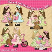 Patchwork Girls Childhood Pals ClipArt Graphic Collection