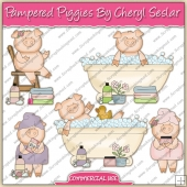 Pampered Piggies ClipArt Graphic Collection - REF - CS