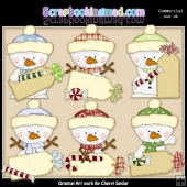 Little Snowman Tags ClipArt Collection