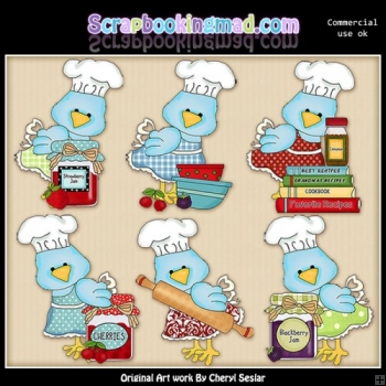 Pretty Birdies In The Kitchen ClipArt Collection
