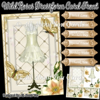 Wild Roses Dressform Card Front and Insert Plate