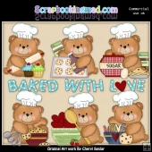 Booboo Bears Love To Bake ClipArt Collection