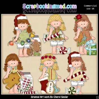 Barefoot Beth Christmas Spirit ClipArt Collection