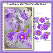 Lilac Flowers With Water Pump Card Front