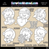 Oval Bears Valentines Colour Your Own ClipArt RESALE SET